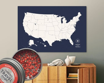 Push Pin USA Map (True Navy) Travel Map Push Pin Map Travel Gift Road Trip Map of the USA on Canvas Personalized Gift For Family Name Sign