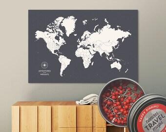 Push Pin Map (Charcoal) Push Pin World Map Pin Board World Travel Map on Canvas Push Pin Travel Map Personalized Wedding/Anniversary Gift