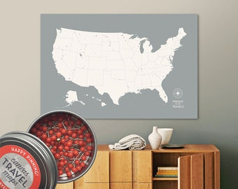 Push Pin USA Map (Cloud) Travel Map Push Pin Map Travel Gift Road Trip Map of the USA on Canvas Personalized Gift For Family Name Sign