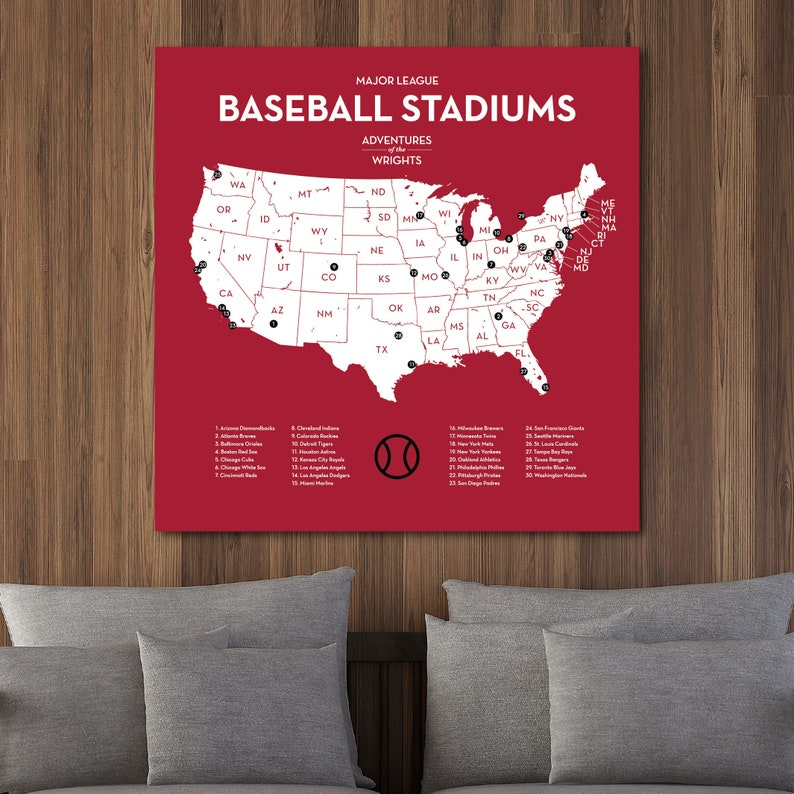 Personalized MLB stadium map with push pins US baseball travel quest on