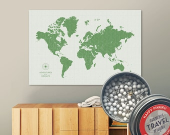 Vintage Push Pin Map (Leaf) Push Pin World Map Pin Board World Travel Map on Canvas Push Pin Travel Map Personalized Gift for Family