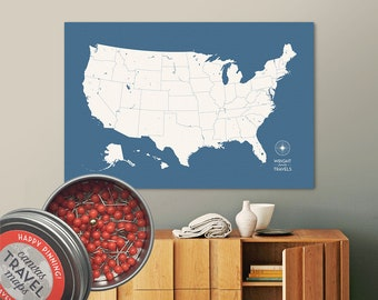 Push Pin USA Map (Storm) Travel Map Push Pin Map Travel Gift Road Trip Map of the USA on Canvas Personalized Gift For Family Name Sign