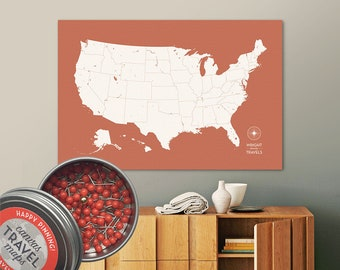 Push Pin USA Map (Terra) Travel Map Push Pin Map Travel Gift Road Trip Map of the USA on Canvas Personalized Gift For Family Name Sign
