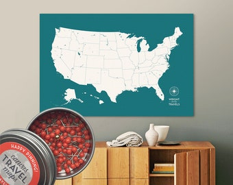 Push Pin USA Map (Lagoon) Travel Map Push Pin Map Travel Gift Road Trip Map of the USA on Canvas Personalized Gift For Family Name Sign
