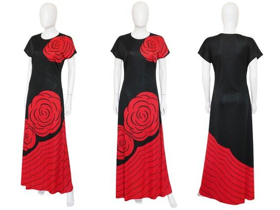 8 l'Oeil Camerino Vintage Medium US Rose 1970s Roberta Print Trompe Maxi Floral di Size Dress 0qU6wO5