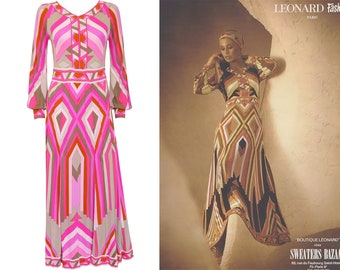 LEONARD 1970s Vintage Printed Silk Jersey Maxi Dress Signature Print Pink Evening Gown Documented c. 1973 Size Small US 6