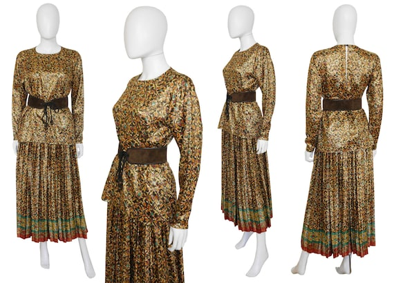 6 Laurent XS US Metallic Size W Vintage YSL Evening Small 1984 Pleated Skirt Blouse Lame Saint Yves Gold Set F 4 A15Uq