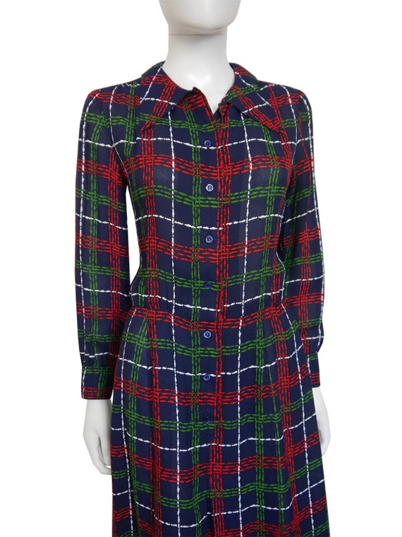 Dress Size Dress US 6 Secretary Small Plaid Midi Vintage Shirt YSL Laurent Saint Print Yves Blue Graphic 1970s 6wqFZpYY