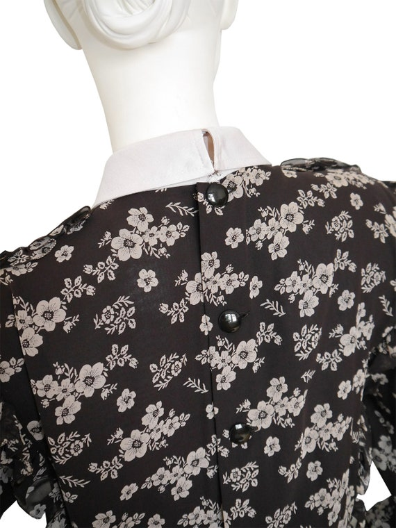 Pleated w Maxi 1970s 1980s Vintage Size Beige Belt 6 Ruffled Silk Brown US Floral VALENTINO Small Dress Skirt Flared YHO8RxqR