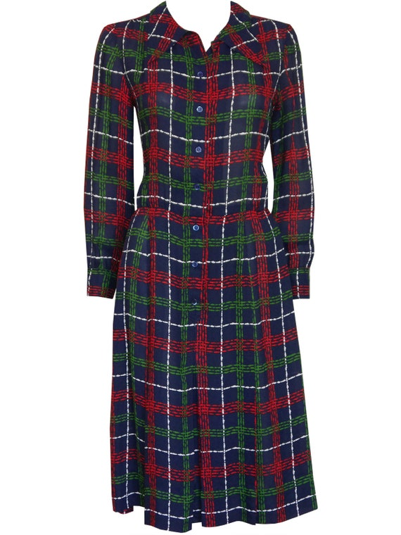 Yves Saint Laurent 1970s Vintage Secretary Shirt Dress YSL Midi Dress Blue Graphic Plaid Print US Size 6 Small