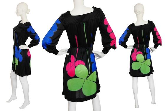 Jersey Xs Print 4 LOUIS Leaf Mod 1960s Age Dress Printed Four 6 FÉRAUD Vintage Size Space Clover S wa4qI