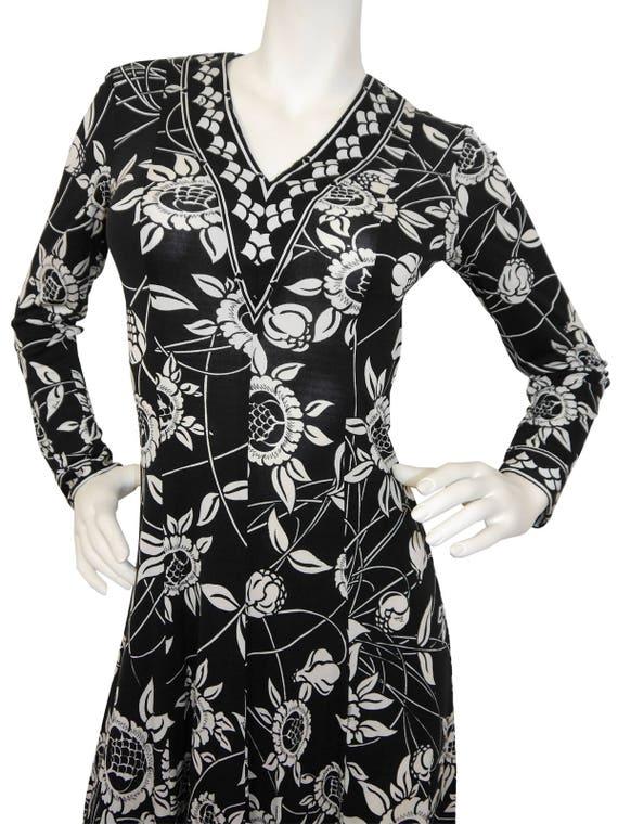 Vintage 1970s Smalll 6 US Signature Dress Emilio White Black Printed Silk Pattern Pucci Size Floral fwqPOx65E