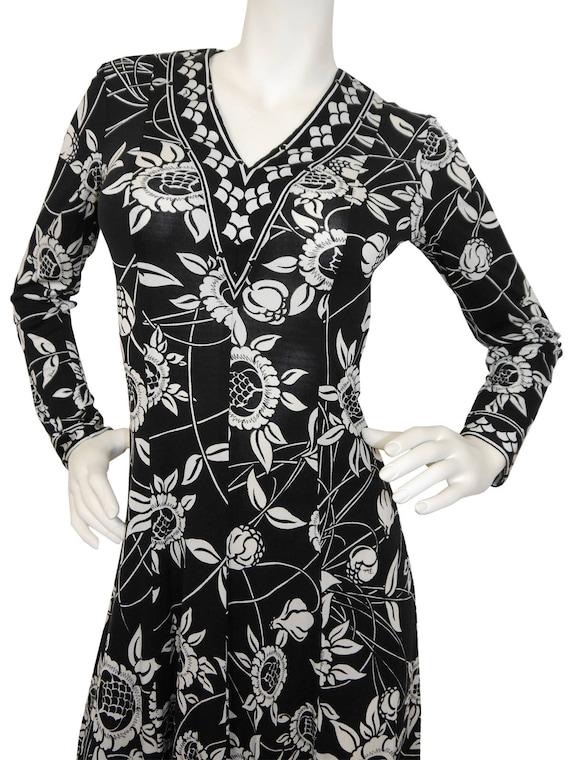 Vintage Black Emilio Size Pucci US 6 Signature White 1970s Silk Dress Smalll Printed Pattern Floral ASSFawRq