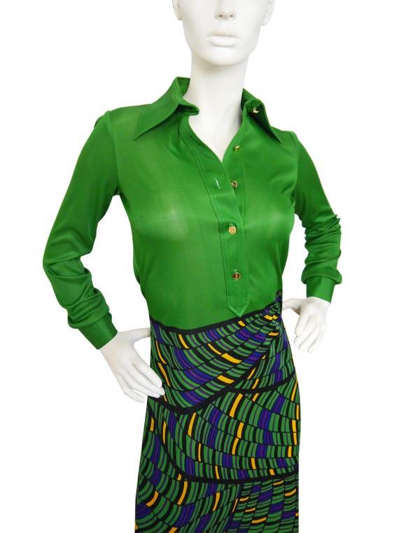 l'Oeil 4 Vintage Size Trompe Dress Xsmall Maxi di Camerino 1970s US Green Roberta 0SqPRwq