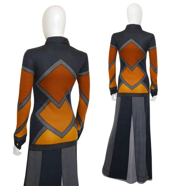 l'Oeil 6 Maxi di US Vintage 1970s Small Trompe Dress Size Roberta Camerino w6qfx00