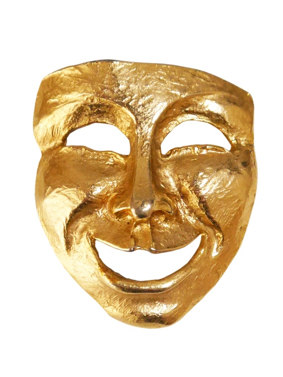 Theater Masks Vintage Brooch Laughing Crying Pin from the 90s