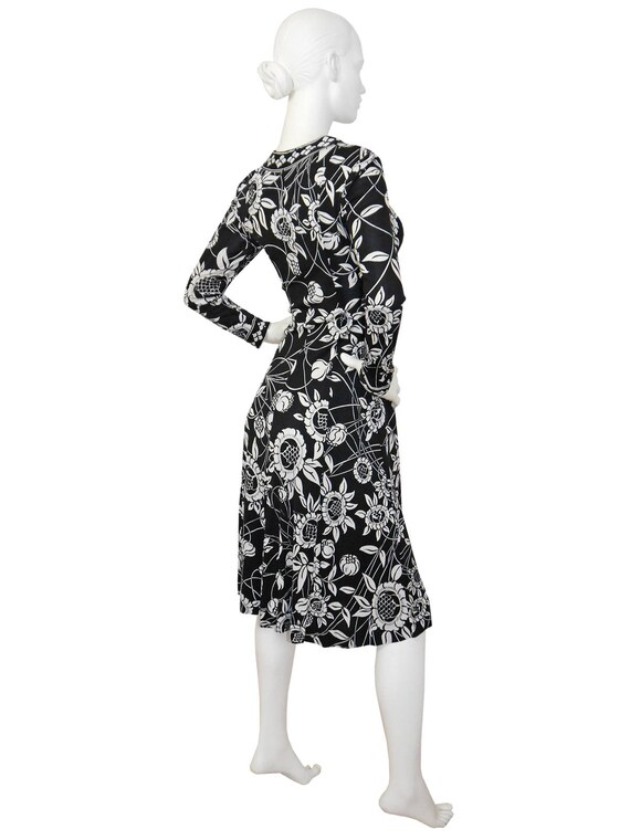 Vintage Black Emilio Size Pucci US 6 Signature White 1970s Silk Dress Smalll Printed Pattern Floral ASSFawRq