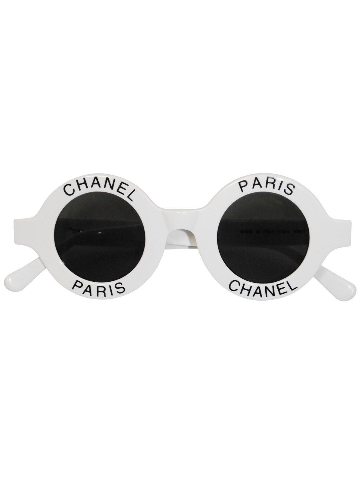b6a1ae9335 CHANEL S S 1993 Vintage Round Logo Signature Sunglasses White