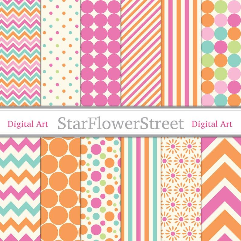 Orange Pink Digital Paper Printable Scrapbook Background  image 0