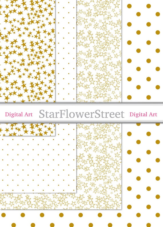 photo regarding Printable Gift Wrap identify Family vacation Printable Reward Wrap - reward wrapping electronic paper gold mustard and white polka dot star famous people obtain sbook - Immediate Down load