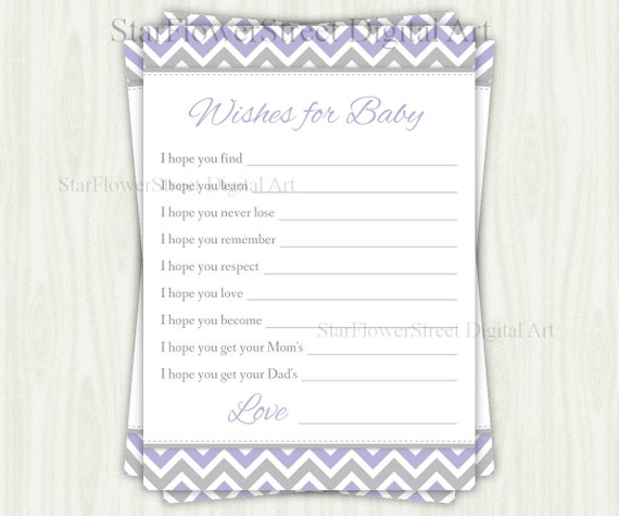Purple /& Grey Chevron Printable Baby Shower Wishes for Baby Advice Cards