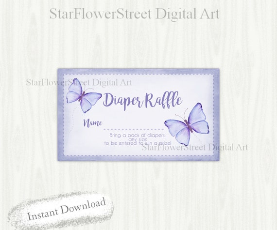 picture about Baby Shower Card Printable titled Red Butterfly Diaper Raffle watercolor common lavender increase card ticket woman youngster shower card printable instantaneous obtain match