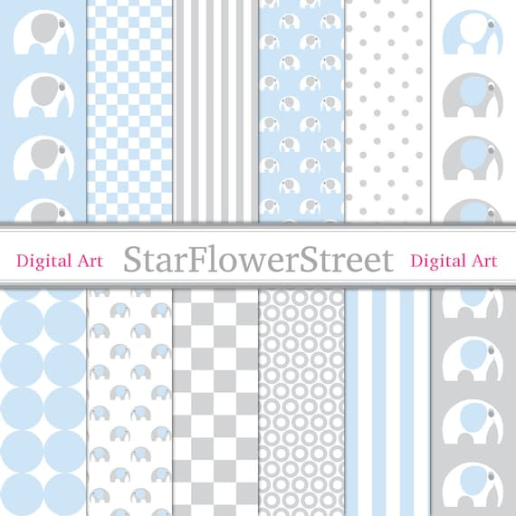 Baby Digital Paper Elephant Blue Grey Scrapbook Printable Background Gray Baby Boy Patterns Scrapbooking 12x12 Striped
