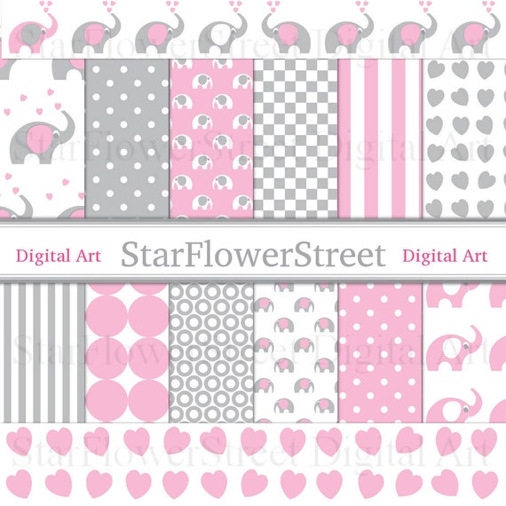 Pink Elephant Digital Paper Gray Scrapbook Background Baby Girl Pink Grey Gray Patterns Printable Photography Diy Baby Shower Decoration