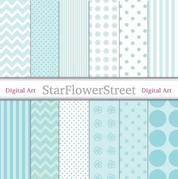 Papel Digital azul aqua patrón 8.5x11 bebé Color blanco azul | Etsy