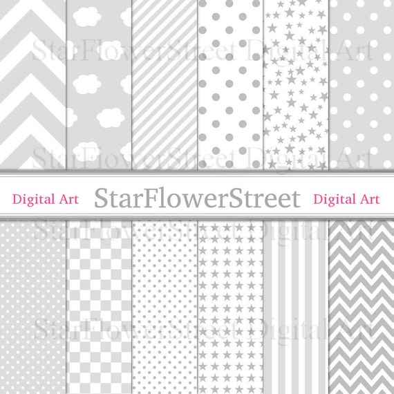 Gray Digital Paper Baby Boy Grey Scrapbook Star Chevron Pale Soft Checkered Polka Dot Cloud Stripe Patterns Printable Download