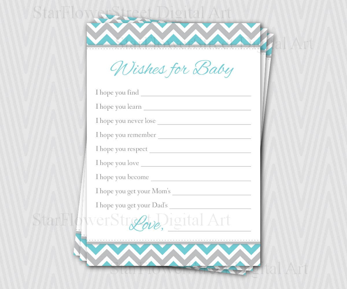 Wishes For Baby Boy Chevron Aqua Turquoise Blue Grey Gray Etsy