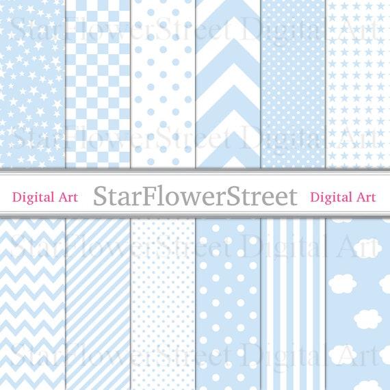 digital paper baby boy blue printable cloud blocks pattern etsy