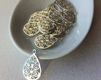 5 Or 10PCs Filigree Teardrop Antiqued Silver Plated Charm Pendants C1981-2