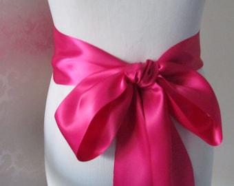 Fuschia Double Face Sash  Ribbon /  Ribbon Sash / 12ft sash / 9 ft sash / 6ft sash