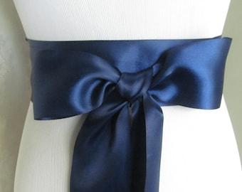 Navy Blue Bridal Sash / Double Face Sash  Ribbon /  Ribbon Sash /  DIY sash / 12 ft sash / 9ft sash / 6 ft sash