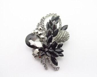 Black Rhinestone Brooch / Black Crystal Brooch Component  /  Brooch Bouquet /RBR-63 Black