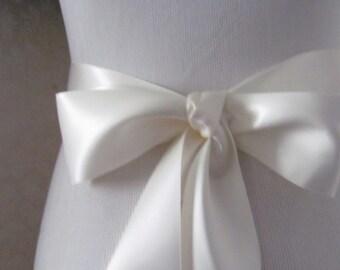 Bridal White Satin Ribbon Sash / Double face satin Sash /  DIY Sash /