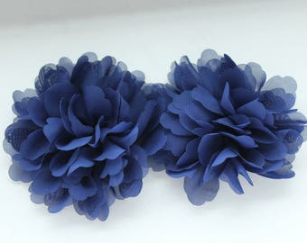 Navy Blue Chiffon Fabric Flower / 3.75 inches wide /  FLW-14  NO CLIPS