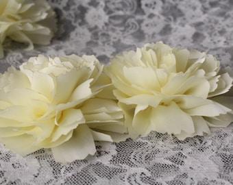 Cream / Ivory Satin Carnation Fabric Flowers / Ivory Fabric Flower  / FLW-13  NO CLIPS