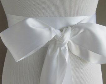White Double Face Sash  Ribbon /  Ribbon Sash /  12ft sash / 9ft sash / 6ft sash