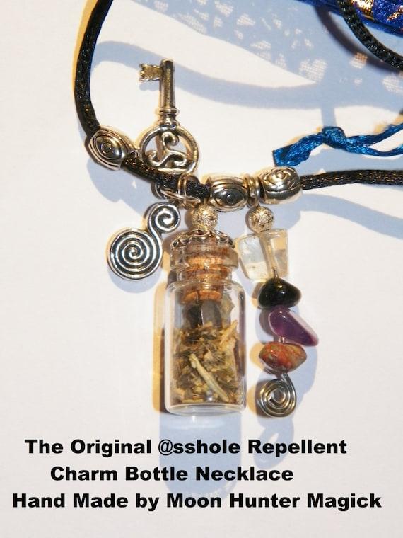Warding @sshole Repellent© Charm Bottle Amulet Necklace Talisman Banishing