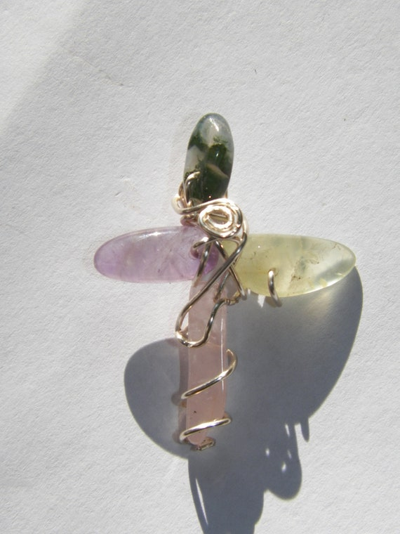 Emotional Healing Cross with Moss Agate Prehnite Amethyst and Rose Quartz OOAK