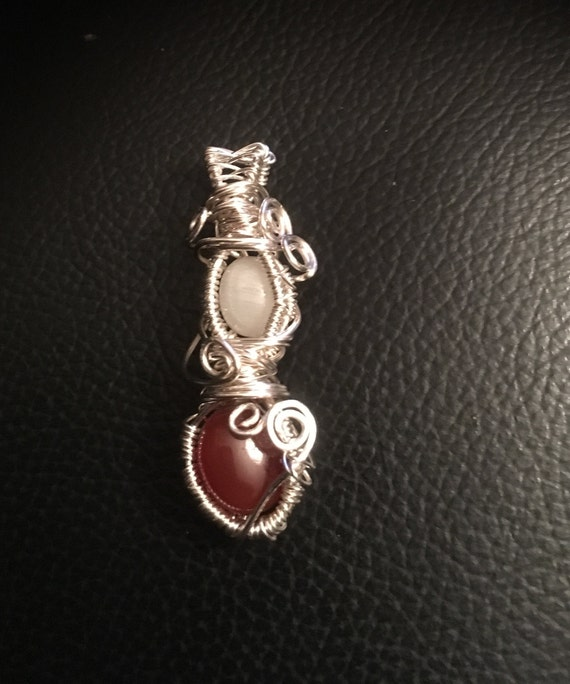 Carnelian Moonstone Amulet for Confidence, Balance, Intuition Charm