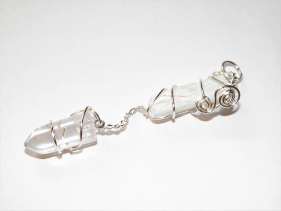 Selenite & Glass Pendulum Handmade Divination Tool Divination Ritual OOAK