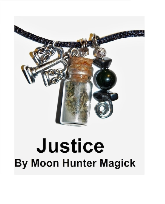 Justice Court Case Charm Bottle Necklace Pagan Wicca Reiki Ritual Lucky Amulet