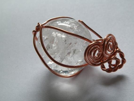 Quartz And Copper Hand Made Blessing Ball Quartz Amulet Talisman Reiki Crystal Healing