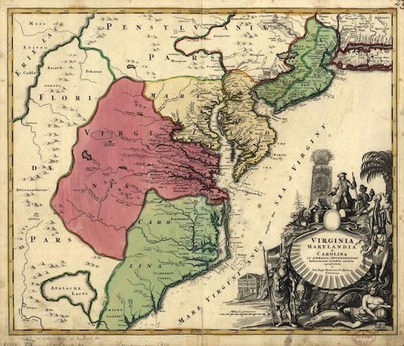 1710 Map of Virginia Maryland Carolina and Indian Tribes | Etsy