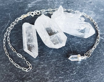 Clear Quartz Crystal Point Pendant // The Stone that Amplifies - Clear Quartz for Cleansing and Balance // Mod Evil