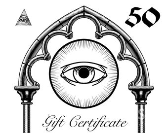 Mod Evil Gift Certificate // Instant Download printable card // this gift credit is for 50 USD  // last minute handmade gift