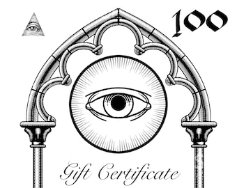 Mod Evil Gift Certificate // Instant Download printable card // this gift credit is for 100 USD  // last minute handmade gift